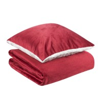 Set perna + patura Dormeo Warm Hug, 130 x 190 cm, poliester, alb + rosu