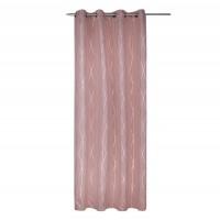 Draperie cu inele Cannes, poliester, roz + auriu, 135 x 245 cm