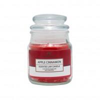 Lumanare decorativa Aroma Land, borcan sticla cu capac, mar + scortisoara, 85 g