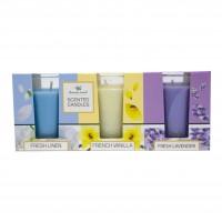 Lumanare in pahar, Aroma Land, fresh linen / vanilie / lavanda, set 3 arome