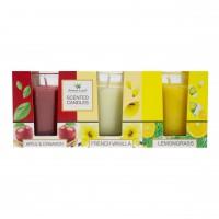 Lumanare in pahar, Aroma Land, mar si scortisoara / vanilie / lemon grass, set 3 arome