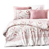 Lenjerie de pat Caressa Iris, 2 persoane, bumbac ranforce 100 %, roz pudra, 4 piese