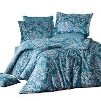 Lenjerie de pat Caressa Osco Yosun, 2 persoane, bumbac satinat 100 %, albastru, 4 piese