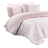 Lenjerie de pat Caressa Merletto, 2 persoane, bumbac satinat 100 %, roz pudra, 4 piese