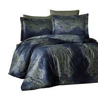 Lenjerie de pat Caressa Lexy Lacivert, 2 persoane, bumbac satinat 100 %, albastru, 4 piese