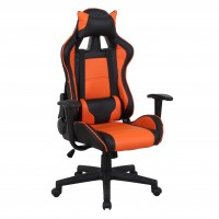 Scaun birou gaming Bellem, rotativ, imitatie piele, negru + portocaliu