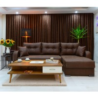 Coltar living extensibil pe stanga / dreapta Ultra, cu lada, maro inchis, 252 x 152 x 75 cm, 3C