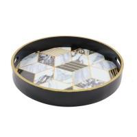 Tava rotunda pentru servire, din MDF, JXY2041L, 35 x 4.5 cm