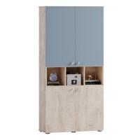 Etajera camera tineret Marvin, cu 4 usi, stejar grano + vernil, 100 x 37 x 205 cm, 3C