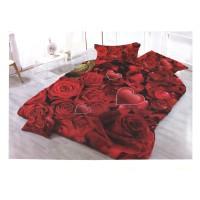 Lenjerie de pat Rose, 2 persoane, microfibra, imprimeu romantic, 4 piese