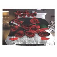 Lenjerie de pat Rose 1, 2 persoane, microfibra, imprimeu romantic, 4 piese