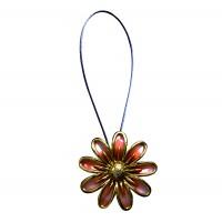 Magnet decorativ pentru perdea si draperie, D 3300, floare, cordon metalic, portocaliu