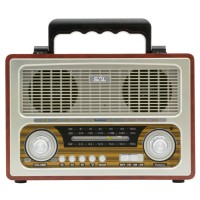 Radio analog FM / AM / SW portabil Sal RRT 3B, 6 W, design retro, alimentare acumulator sau baterii, Bluetooth, USB, SD + microSD card reader, Aux in, semnalizare volum cu leduri, maro + gri