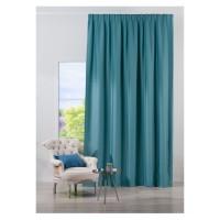 Draperie Mendola Fabrics, model Bellagio, Monograma, jacquard, turcoaz, semiopac, 280 cm