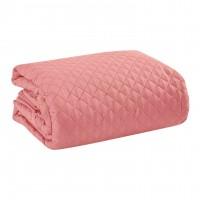 Cuvertura de pat + 2 fete de perna, Home Still, roz, uni, 200 x 240 cm