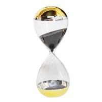 Decoratiune Clepsidra, sticla transparenta, auriu, 8.2 x 20 cm