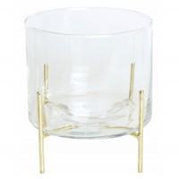 Suport lumanare, pahar sticla transparenta, auriu, 14 x 12 cm