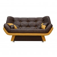 Canapea extensibila 3 locuri Lale, maro inchis + mustar, 182 x 95 x 85 cm, 1C