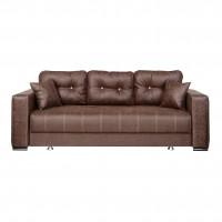 Canapea extensibila 3 locuri Leon, cu lada, maro inchis, 240 x 100 x 80 cm, 3C