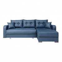 Coltar living extensibil pe stanga / dreapta Ultra, cu lada, albastru, 252 x 152 x 75 cm, 3C