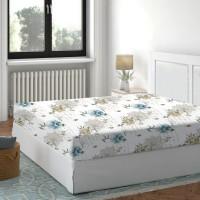 Cearceaf de pat, 100 % bumbac, imprimeu flori albastre, 140 x 200 cm