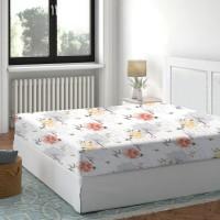 Cearceaf de pat, 100 % bumbac, imprimeu flori orange, 140 x 200 cm