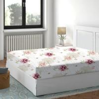 Cearceaf de pat, 100 % bumbac, imprimeu flori roz, 160 x 200 cm
