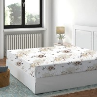 Cearceaf de pat, 100 % bumbac, imprimeu flori bej, 160 x 200 cm