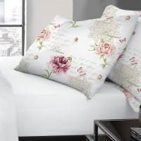 Set 2 fete de perna, 100 % bumbac, imprimeu floral roz, 50 x 70 cm