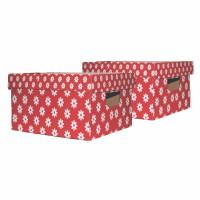 Cutie decorativa pentru depozitare Velox, pliabila, carton, rosu, 33 x 27 x 15 cm, set 2 bucati
