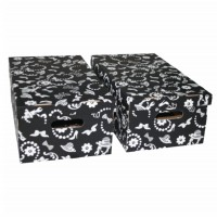Cutie decorativa pentru depozitare Velox, pliabila, carton, negru, 33 x 27 x 15 cm, set 2 bucati