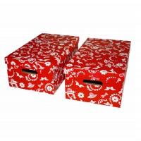 Cutie decorativa pentru depozitare Velox, pliabila, carton, rosu, 55 x 32 x 21 cm, set 2 bucati