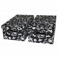 Cutie decorativa pentru depozitare Velox, pliabila, carton, negru, 55 x 32 x 21 cm, set 2 bucati