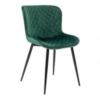 Scaun bucatarie / living fix S-153, tapitat, metal negru + stofa verde, 1C