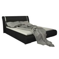 Pat dormitor Iris, matrimonial, tapitat, negru, 160 x 200 cm, 4C