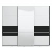 Dulap dormitor Lusitano 270, alb mat + sticla vopsita negru, 3 usi glisante, cu oglinda, 262.5 x 65.5 x 224 cm, 9C