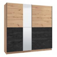 Dulap dormitor Madeira 220, stejar artisan + carbune, 2 usi glisante, cu oglinda, 217 x 62.5 x 210 cm, 8C
