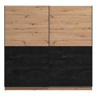 Dulap dormitor Madeira 220, stejar artisan + carbune, 2 usi glisante, 217 x 62.5 x 210 cm, 8C