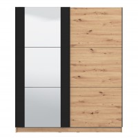 Dulap dormitor Sardinia 180, stejar artisan + negru, 2 usi glisante, cu oglinda, 179 x 62.5 x 210 cm, 7C