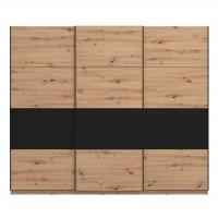 Dulap dormitor Sardinia 270, stejar artisan + negru, 3 usi glisante, 262.5 x 65.5 x 224 cm, 9C