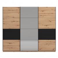 Dulap dormitor Sardinia 270, stejar artisan + negru, 3 usi glisante, cu oglinda, 262.5 x 65.5 x 224 cm, 9C