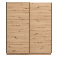 Dulap dormitor Sierra 180, stejar artisan, 2 usi glisante, 179 x 62.5 x 210 cm, 7C