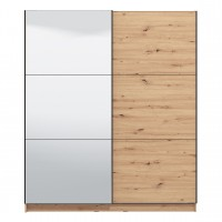Dulap dormitor Sierra 180, stejar artisan, 2 usi glisante, cu oglinda, 179 x 62.5 x 210 cm, 7C