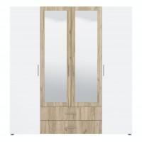 Dulap dormitor Sebastian 4K2F2O, stejar gri + alb mat, 4 usi, cu oglinda, 200 x 51.5 x 210.5 cm, 5C