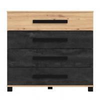 Comoda dormitor Madeira 4F, cu 4 sertare, stejar artisan + carbune, 91.5 x 85 x 42 cm, 1C