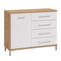 Comoda dormitor Mondego 2K4F, cu usa + 4 sertare, stejar artisan + alb mat + folie lucioasa alba, 108 x 87 x 40 cm, 2C
