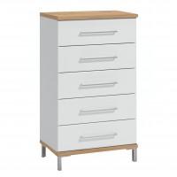 Comoda dormitor Mondego 5F, cu 5 sertare, stejar artisan + alb mat + folie lucioasa alba, 60 x 105 x 40 cm, 1C