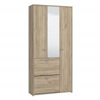 Dulap hol Congro, cu o agatatoare, oglinda si pantofar, stejar gri, 3 usi, 885 x 335 x 1855 mm, 2C