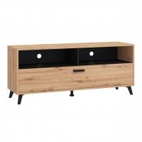 Comoda TV Umbria 140, stejar artisan + negru, 137.5 x 40 x 57.5 cm, 1C