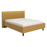 Pat dormitor Bazel, matrimonial, tapitat, galben, picioare negre, 160 x 200 cm, 2C